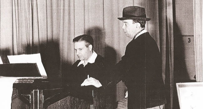 Disney composer and former U student Leigh Harline, left, accompanies Cliff Edwards, the voice of Jiminy Cricket. (Photo courtesy Jo-An Lyman)