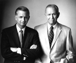 Bill Marriott, left, and his father and mentor, J. Willard Marriott, in 1972.