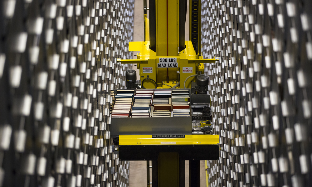 The Marriott Library's Automated Retrieval Center allows high-density storage.
