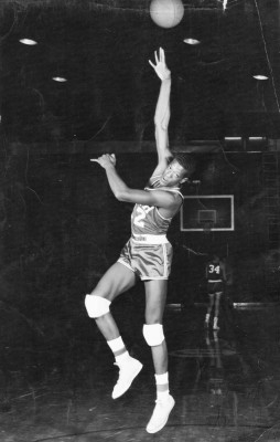 McGill, shown here in 1958, is credited with inventing the jump hook shot, later emulated by many players. (Photo courtesy Billy McGill)