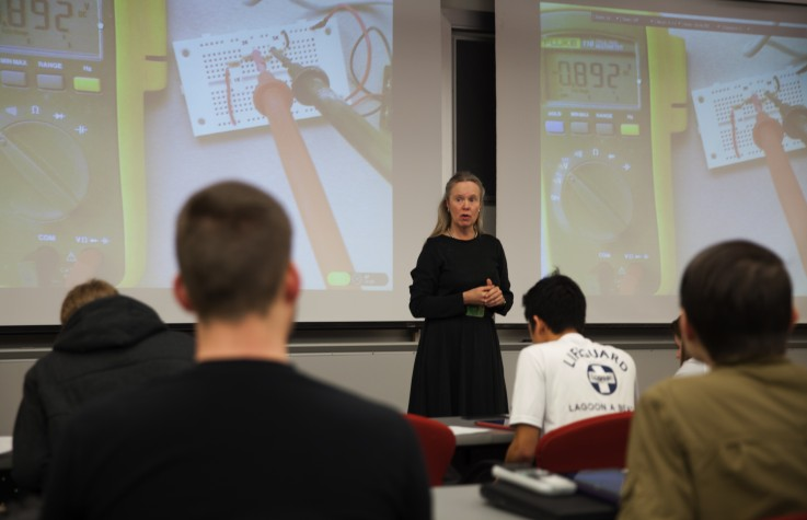 """Cynthia Furse, the U's associate vice president for research, teaches a """"flipped"""" course in electrical and computer engineering."""