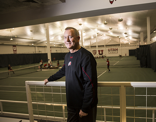 F.D. Robbins, shown here in the U's Eccles Tennis Center, was the U's head coach for men's tennis for 28 years until he retired in 2014. He twice received the Western Athletic Conference Coach of the Year Award. Photo by August MIller