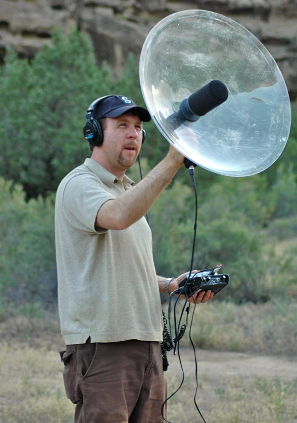 Archive co-founder Jeff Rice records sounds in Utah's Range Creek area during a 2009 trip. (Photo by Kenning Arlitsch)