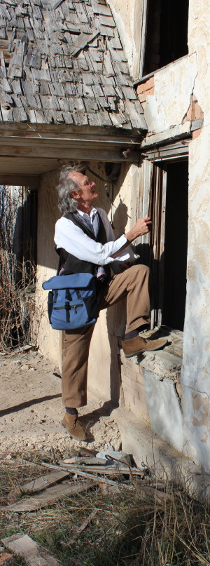 Tom Carter, doing architectural fieldwork on a pioneer house in Utah's Sanpete County. (Photo courtesy Thomas Carter).