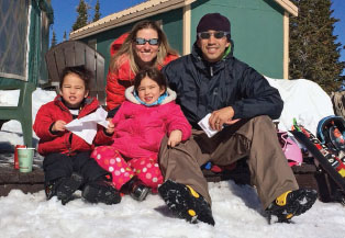 Leang, an avid skier, on a recent ski vacation with his family.