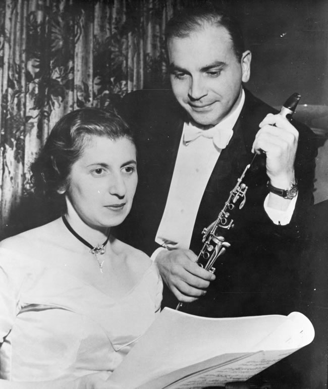 Gladys Gladstone, left, with Utah Symphony clarinetist Martin Zwick (Photo courtesy Special Collections, J. Willard Marriott Library, University of Utah)