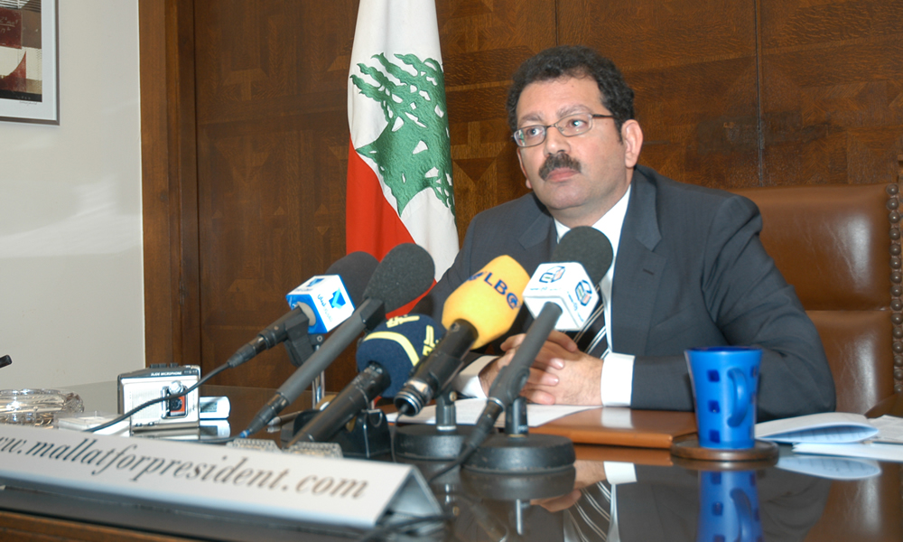 Chibli Mallat answers questions at a news conference during his 2005-06 campaign for Lebanon's presidency. (Photo courtesy Chibli Mallat)