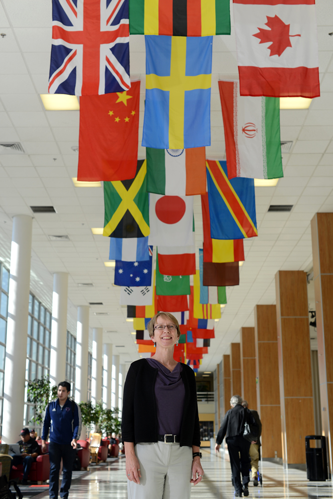 U Deputy Chief Global Officer Sabine Klahr, shown here in the U's Union Building, notes college graduates today face a global economy and workforce. (Photo by Stephen Speckman)
