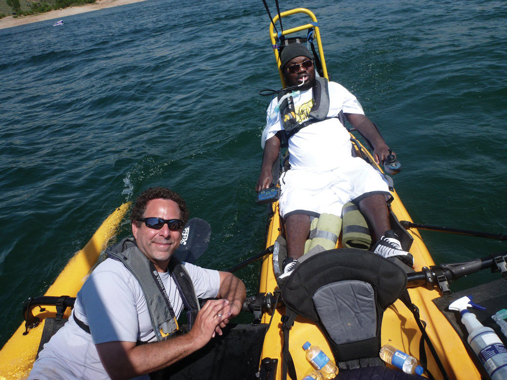 Dr. Jeffrey Rosenbluth, left, helped develop the kayak (above) and the bike (shown in the photo below).