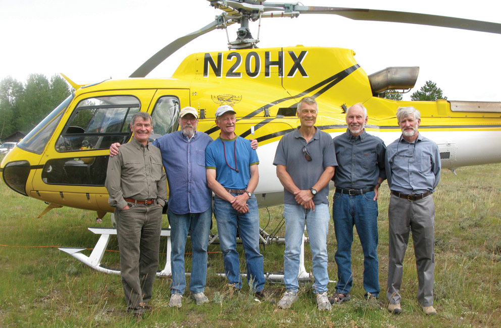 Six of the seven men who participated in the 1967 rescue of an injured climber gather for a reunion in the Tetons: from left, Ted Wilson, Pete Sinclair, Ralph Tingey, Mike Ermarth, Rick Reese, and Bob Irvine.