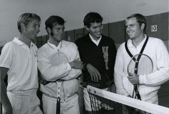 From left, Dan Bleckinger, a U All-American in 1969 and 1970; F.D. Robbins, also an All-American in 1969 and 1970; Jim Osborne, All-American in 1965 and 1966; and Dave Harmon, at the net in the early 1970s. Photo courtesy Special Collections, U J. Willard Marriott Library
