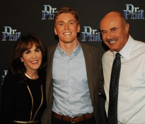U alum Mitchell Cox, center, appeared on the Dr. Phil show in December to talk about his fraternity's sexual assault prevention efforts. Photo courtesy of Mitchel Cox