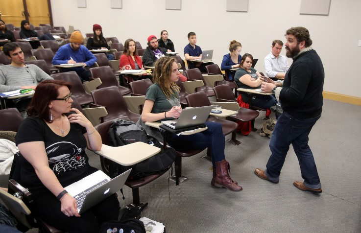 Marty Liccardo, a health educator with the U's Center for Student Wellness, is shown here teaching a sociology class. He also helps with required sessions for students to educate them about sexual assault prevention. Photo by Brian Nicholson
