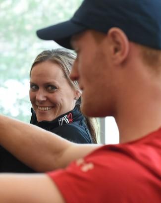 U sports psychology consultant Nicole Detling, left, with U golfer Brent Pollock.
