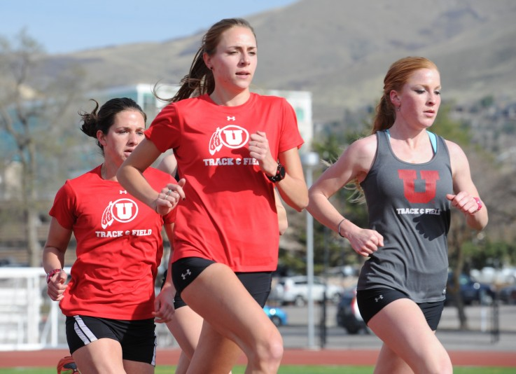 From left, U track and field team members Beck Sarmiento, Jessica Sams, and Lauren Mills.
