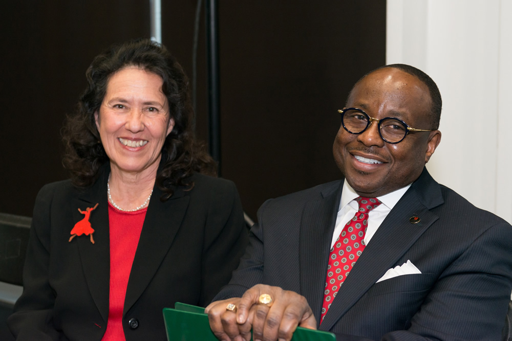 María Fránquiz, left, dean of the University of Utah's College of Education, and Raymond Tymas-Jones, dean of the College of Fine Arts, are working together to foster interdisciplinary collaboration and creative ways of learning. (Photo by Trevor Muhler)
