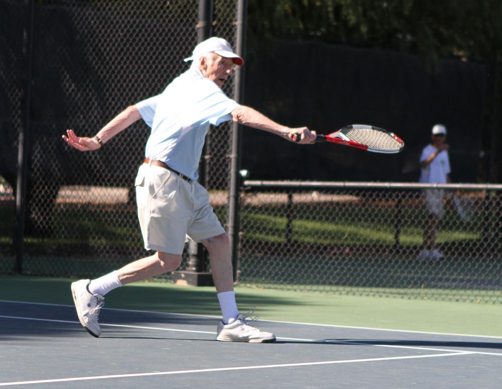 Morgan won three medals in tennis at the 2013 Huntsman World Senior Games. (Photo courtesy John Morgan, Jr.)