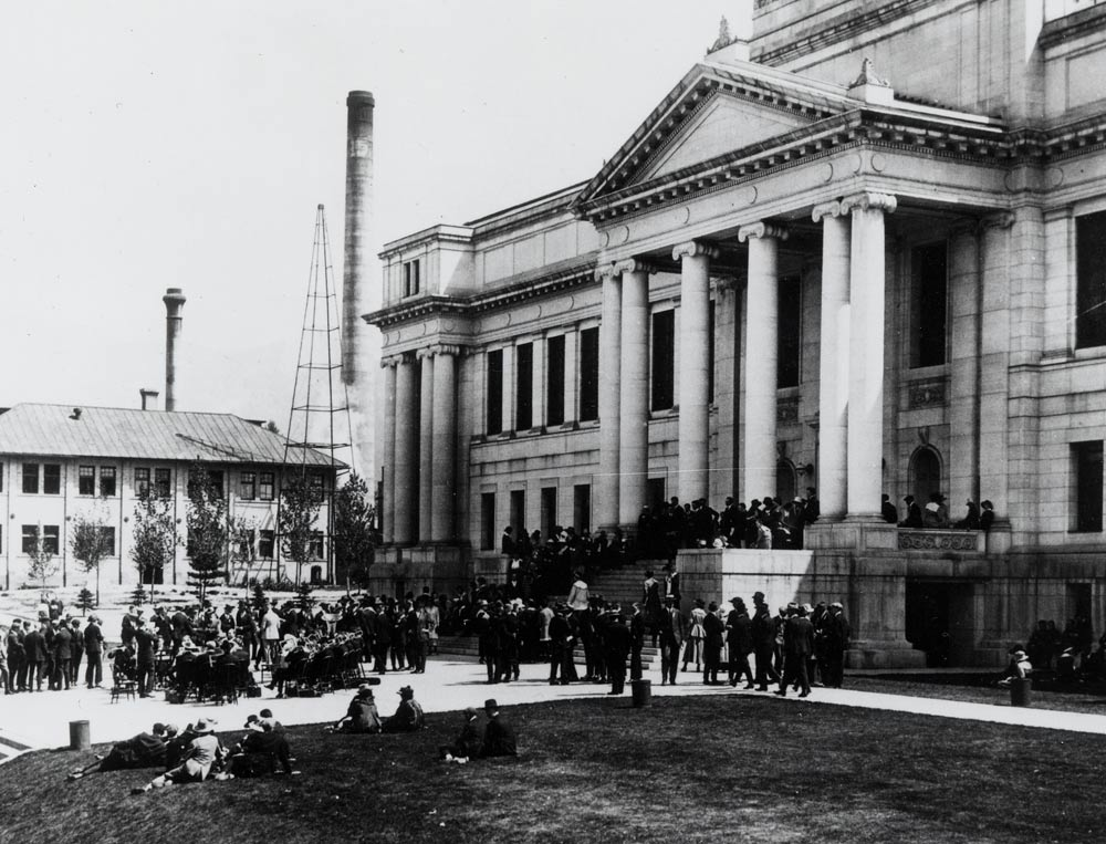 University of Utah faculty, staff, students, and supporters gather for an event on the steps of the University's Administration Building shortly after its completion. The building's dedication ceremony was in October 1914. (Photo courtesy Special Collections, J. Willard Marriott Library, University of Utah)