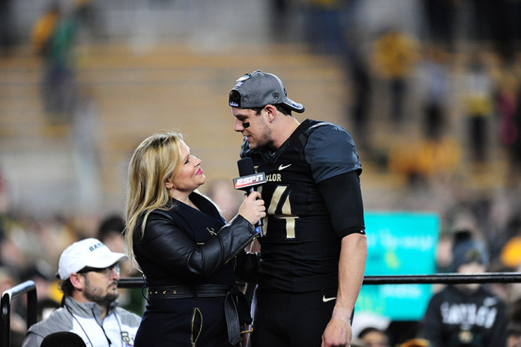 Holly Rowe interviews Baylor University football player Bryce Petty (now with the NFL's New York Jets) during a 2014 game. (Photo by Joe Faraoni/ ESPN Images)