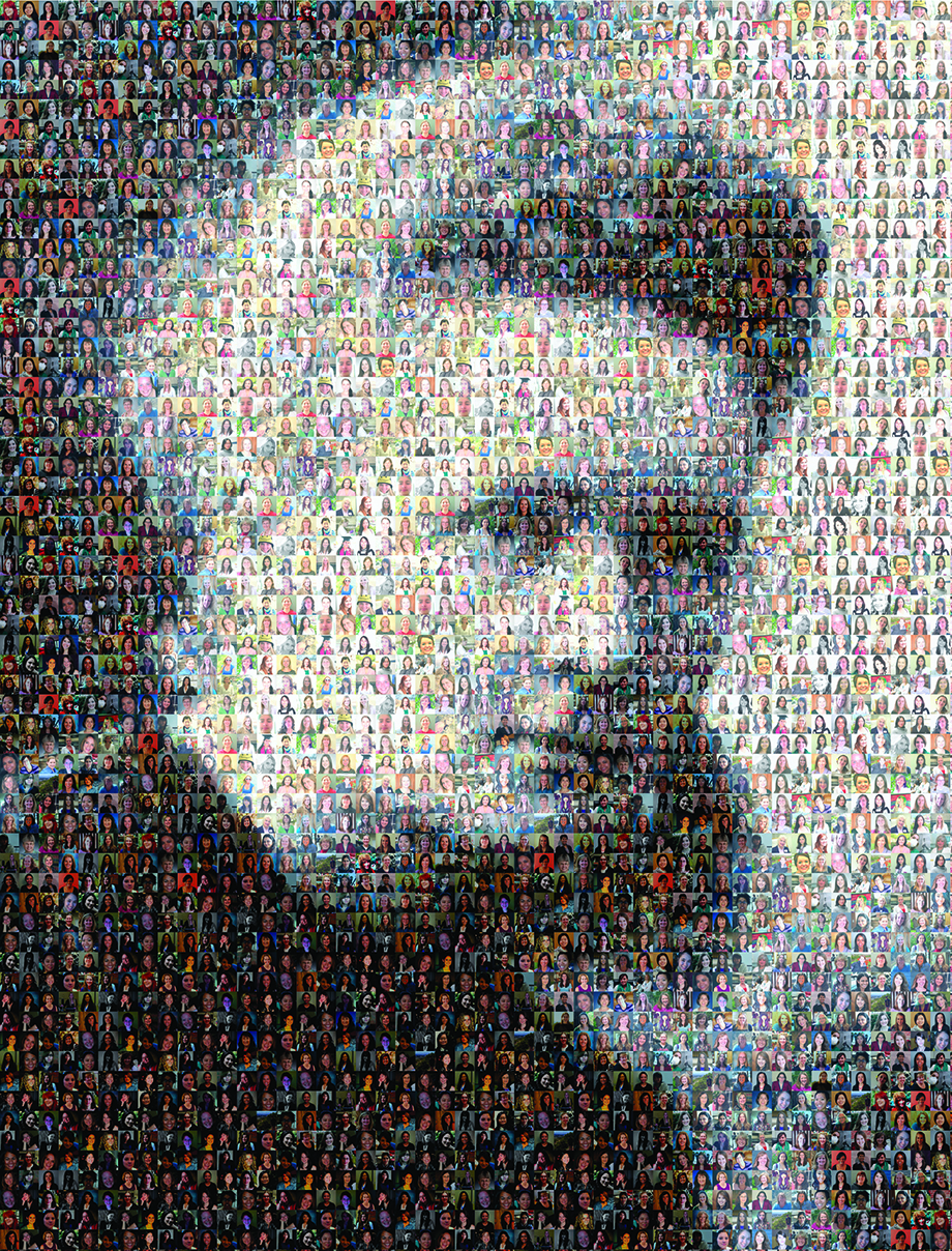 In the southwest corner of the University of Utah's Thatcher Building for Biological and Biophysical Chemistry, The Curie Poster is displayed as a tribute to Utah women in chemistry. The graphic mosaic is made up of small photos arrayed together to constitute an image of Marie Curie, the Polish and naturalized-French physicist and chemist who did pioneering research in radioactivity in the late 1800s and early 1900s and who won the 1911 Nobel Prize in Chemistry and shared the 1903 Nobel Prize in Physics. The 1,807 small photos in the poster were collected in February 2013 and depict women who have either studied or taught chemistry at the U. The poster was assembled by Tomi Carr BS'06 MS'13, then an administrative assistant in the Chemistry Department; Dave Titensor BFA'91, art director for U Marketing and Communications; and Marla Kennedy BS'05, then an account executive for Marketing and Communications.