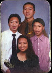 Leang with his family during his youth.