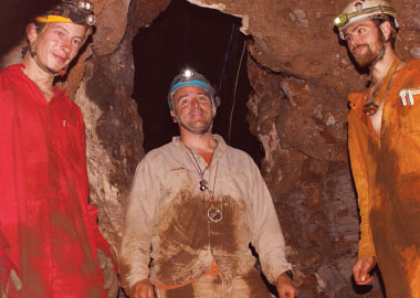 Eric Roberts, center, with cavers Rick Hunter and Steven Tucker, who contacted scientists about what they found in the Dinaledi Chamber in late 2013. Photo by Paul Dirks