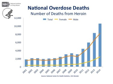 This chart from the National Center for Health Statistics shows the dramatic increase of heroin overdose deaths in the U.S. from 2001 to 2014. (Source: http://1.usa.gov/1QBSs0r