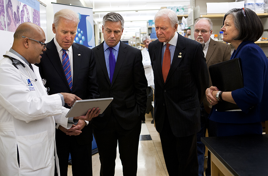 From left to right (foreground), Dr. Jewel Samadder; Vice President Joe Biden; Jon Huntsman, Jr.; Senator Orrin Hatch; and Dr. Mary Beckerle. Photo courtesy AJF Photography.
