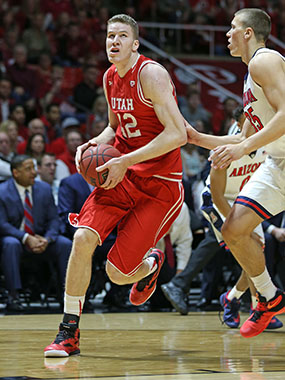 Jakob Poeltl in action against Cal in the Pac-12 Tournament on March 11. Photo courtesy Utah Athletics Communications.